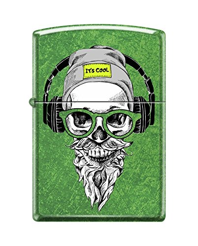 Zippo Custom Lighter Design Green Hipster Skull Head with Cap, Headphone and Glasses Windproof Collectible - Cool Cigarette Lighter Case Made in USA Limited Edition & - Big Custom Head