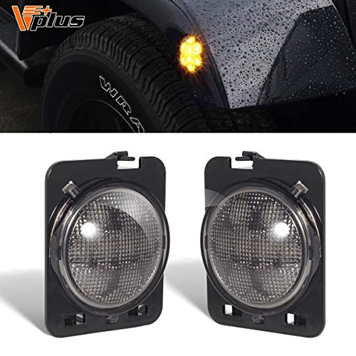 Partsam LED Front Fender Side Marker Light Assembly Amber Yellow w/Smoke Lens Replacement for Jeep Wrangler 2007-2018