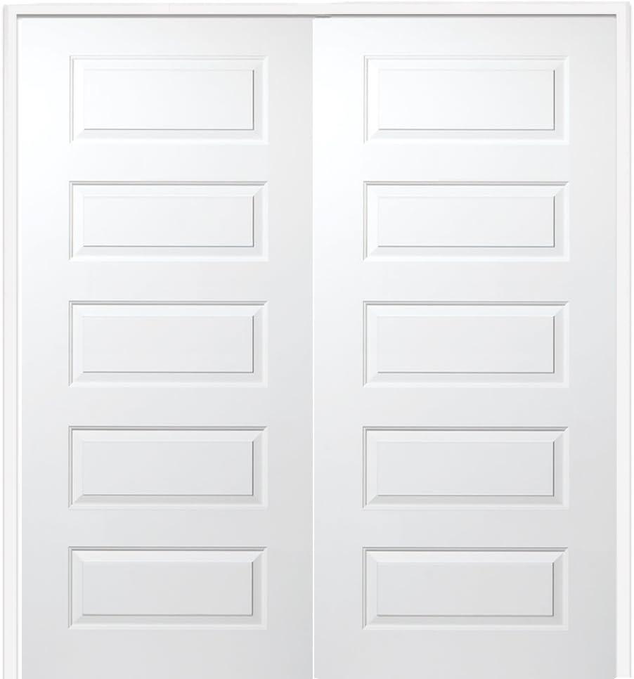 Prehung Interior Double Door Molded MDF 72 x 80 on 6-9//16 Jamb 5-Panel Both Active National Door Company ZZ365129BA Solid Core