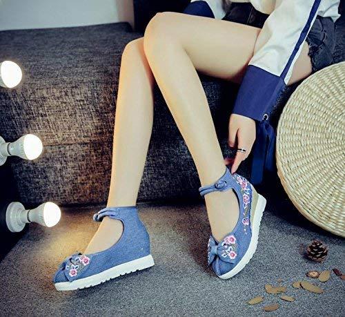 Blu Moda Casual Femminili Tendine Comodo A Suola Etnico Stile Scarpe Più Lino Eeayyygch Forti Ricamate 39 Dimensione colore 8xqw6RnP