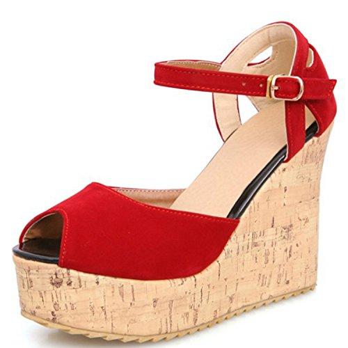 Azbro Mujer Sandalias Correa Tobillo de Tacón Cuña Plataforma con Puntera Abierta Rojo