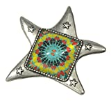 Unisex, Antique Pewter Quilter's Dream Star Brooch+ FREE GIFT BAG