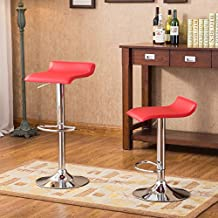 Roundhill Contemporary Chrome Air Lift Adjustable Swivel Stools with Red Seat, Set of 2