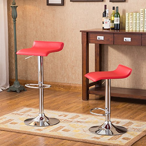 2 Swivel Bar Stools - Roundhill Furniture Contemporary Chrome Air Lift Adjustable Swivel Stools with Red Seat, Set of 2