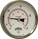 Winters TSW174LF Lead free Well Hot Water Thermometer, 1/2'' NPT, 30 to 250 degrees F, ±1% accuracy