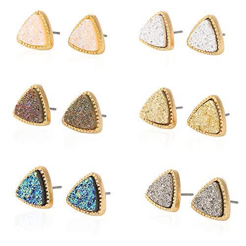 JOYAGIFT Pretty Cute Druzy Crystal Triangle Stud Earrings Set for Women Girl Fashion Delicate Pierced Jewelry