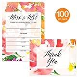 Bridal Shower Invites ( 100 ) & Matching Thank You Cards ( 100 ) Set Envelopes Included, Large Party Event Bride's Attendants 5 x 7'' Fill-in-Style Invitations & Folded Thank You Notes Best Value Pair