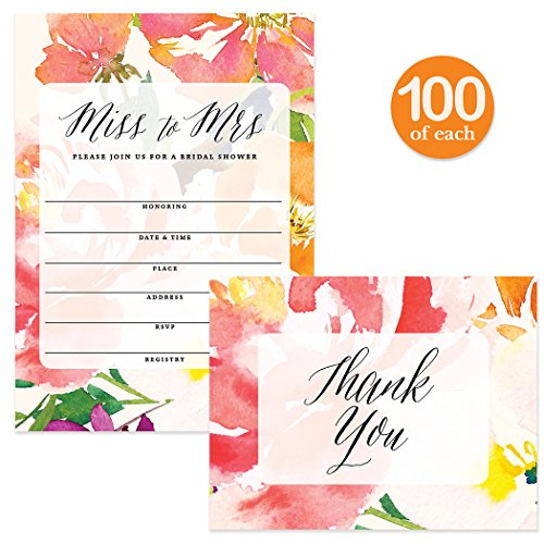 Bridal Shower Invites ( 100 ) & Matching Thank You Cards ( 100 ) Set Envelopes Included, Large Party Event Bride's Attendants 5 x 7'' Fill-in-Style Invitations & Folded Thank You Notes Best Value Pair by Digibuddha