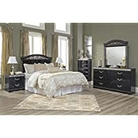 Ashley Constellations Wood Full Queen Panel Headboard in Black