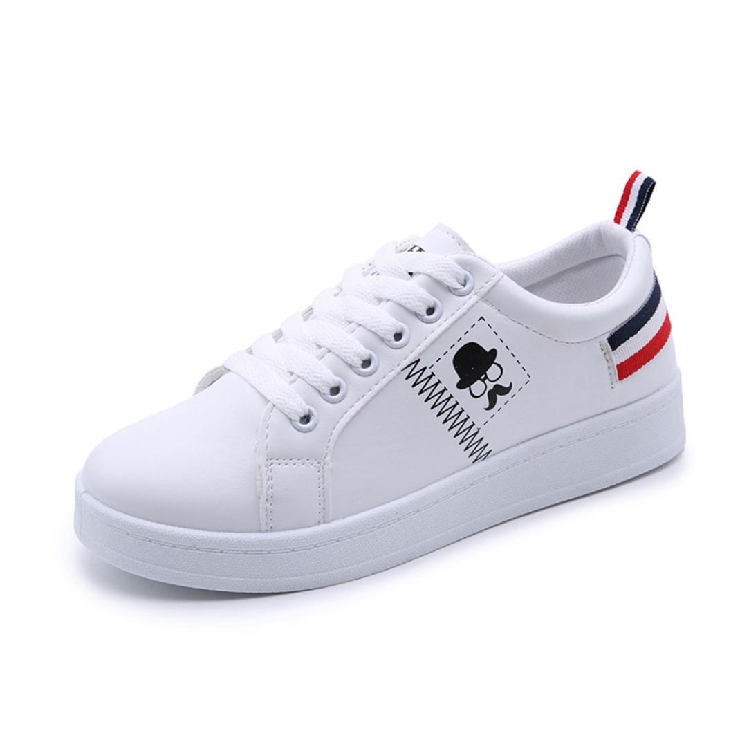 IEason-shoes Ladies Women's Shoes Fashion Beard Striped Sneakers Flat Casual White Shoes (7, White)