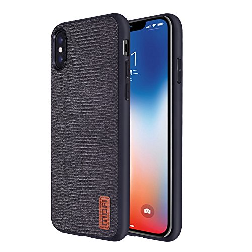 iPhone Xs Max case,Mofi Anti-Scratch Shock-Absorbing Fabric Business Men Covers with Silicone Soft Edges and Great Grip, Fully-Protective and Compatible for iPhone Xs Max (Black)