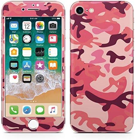 igsticker iPhone SE 2020 iPhone8 iPhone7 専用 スキンシール 全面スキンシール フル 背面 側面 正面 液晶 ステッカー 保護シール 010664 迷彩 カモフラ ピンク