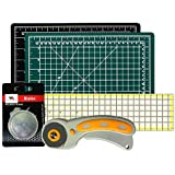 Rotary Cutter with Self Healing Mat &Quilting Ruler –Professional Quilting & Sewing Set (9x12)