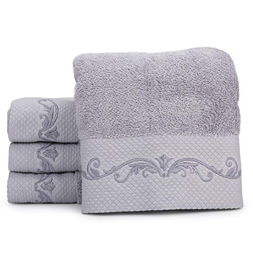 WeiWyTex 100% Pakistan Cotton Luxury Extra Large Hand Towels Set for Bathroom | 4 Pack 16x31 in | 750 GSM Five-Star Hotel Standards | High Water Absorbability | Thick and Soft (Gray)