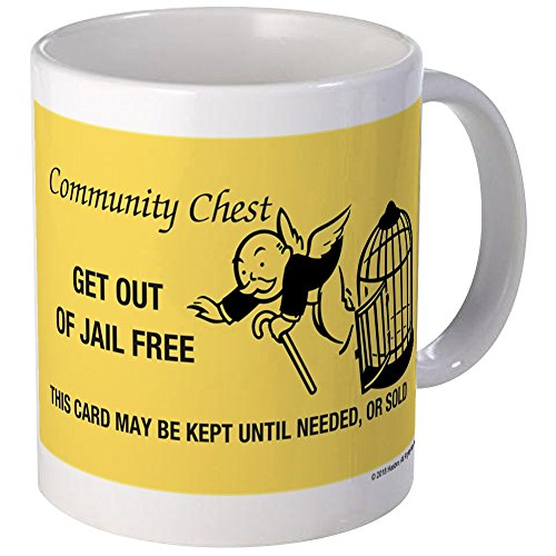 Monopoly Mug - CafePress - Monopoly - Get Out Of Jail Free - Unique Coffee Mug, Coffee Cup