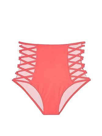 6884e8604f6 Amazon.com: Victoria's Secret Swim The Strappy High Waist Bikini Bottom  Neon Coral L: Clothing