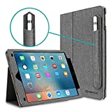 iPad Pro 9.7 Case, [Corner Protection] CaseCrown Bold Standby Pro (Canvas Charcoal Gray) w/Apple Pencil Holder for iPad Pro 9.7 Inch 2016 - Sleep/Wake, Hand Grip, Multi-Angle Viewing Stand