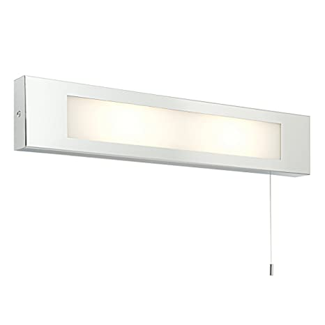 Decorative Chrome And Frosted Glass Pull Cord Bathroom Wall Light