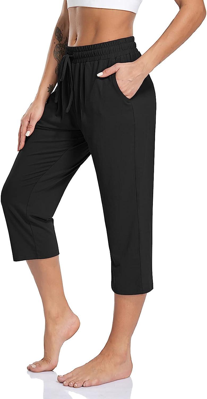 TARSE Women's Capri Yoga Pants Soft Drawstring Workout Sweatpants Causal Lounge Pants with Pockets