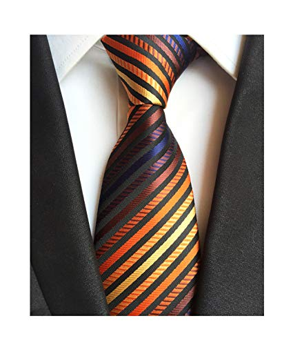 Mens Bronze Yellow Silk Tie Fine Striped Colorful Jacquard Woven Working Necktie