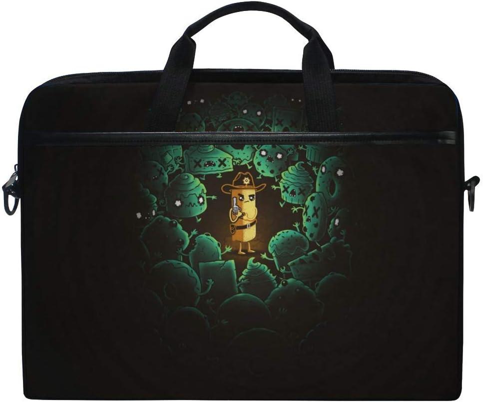 Walking Dead Zombie Art Improvisation Laptop Shoulder Messenger Bag Case Sleeve for 14 Inch to 15.6 Inch with Adjustable Notebook Shoulder Strap