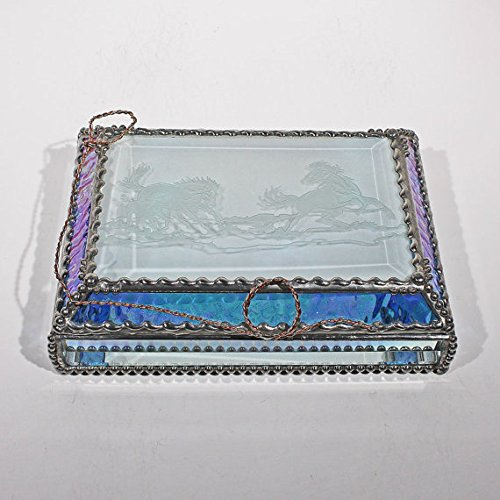 Mustang, Wild Horses, Equine Stained Glass Jewelry Box, Presentation Box, Keepsake Box, Glass Jewels, Swarovski Crystals, USA Made