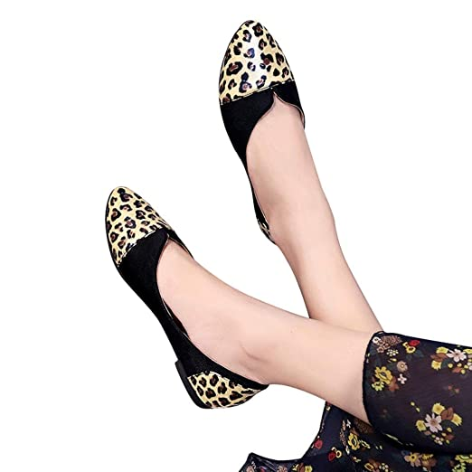 018c6aa652b6 Women Ballet Flats Snake Leopard Print Faux Leather Office Work Shoes Dress  Shoes by Lowprofile Yellow