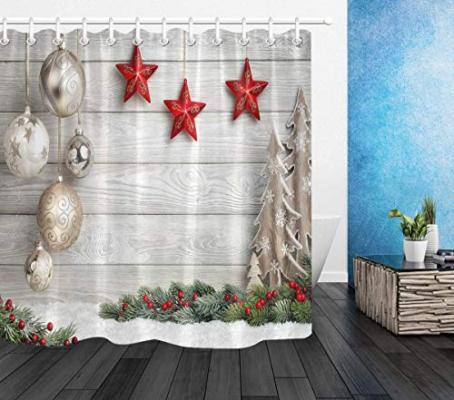 LB Merry Christmas Shower Curtains,Unique Design Wood Plank with Christmas Balls Stars Print Christmas Ornament Shower Curtain Waterproof Fabric 72x72 Inch with Hooks ()