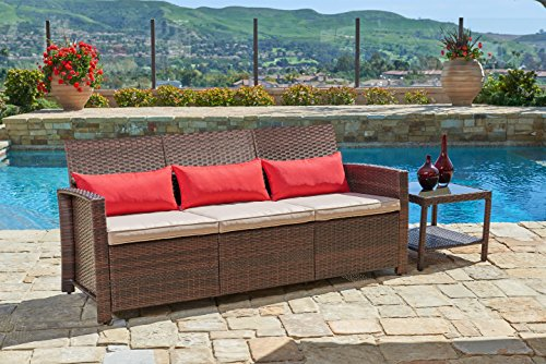 Suncrown Outdoor Furniture Patio Sofa Couch (Seats 3) Garden, Backyard, Porch Pool | All-Weather Wicker Thick Cushions | Easy to Assemble