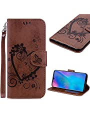 Cistor Strap Wallet Case for Huawei P30 Lite [Not for Huawei P30],Stylish Embossed Love Heart Butterfly Flip Cover Shockproof PU Leather Stand Protective Case with Card Slot Magnetic Clasp for Huawei P30 Lite,Brown