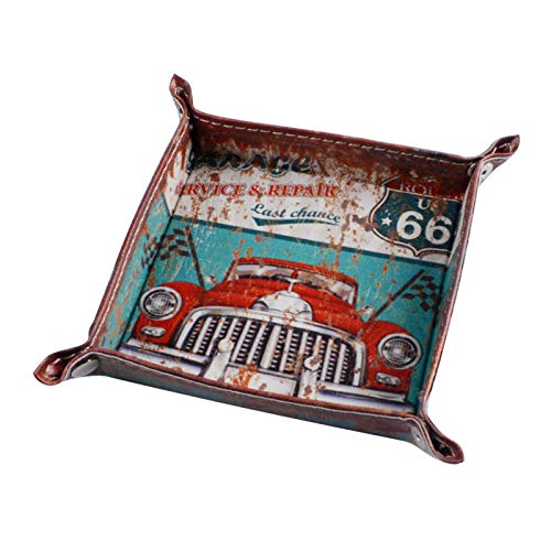 Wall of Dragon 1PC Rusted Car Garage Service Blue Red Car Route 66 Man Cave Design PU Leather Valet Coin Key Trinket Tray for Serving by Wall of Dragon