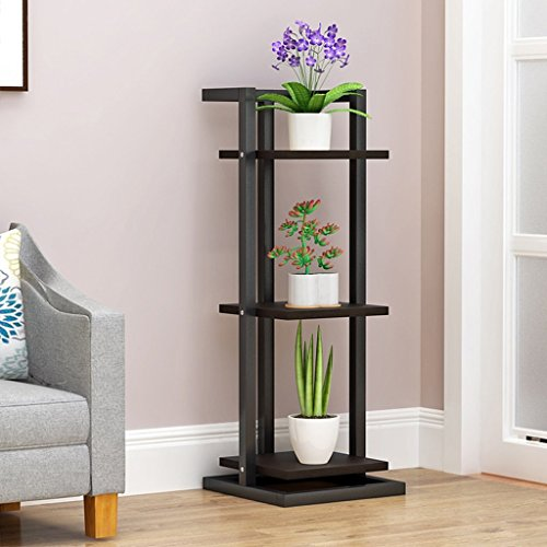 (Multi-Layer Wrought Iron Flower Stand Floor-Standing Wood Reinforced Multi-Meat Green Radish Potted Living Room Simple Nordic Creative (Color : Black))