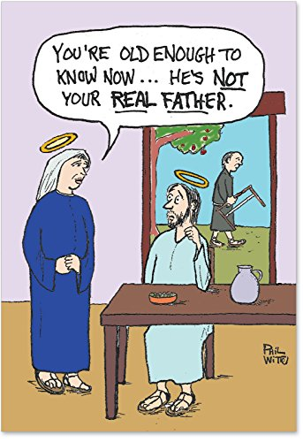 12 'Not Your Real Father' Boxed Christmas Cards with Envelopes 4.63 x 6.75 inch, Funny Jesus Christ and Virgin Mary Cartoon Christmas Notes, Inappropriate Humor, Religious Humor B1183 -