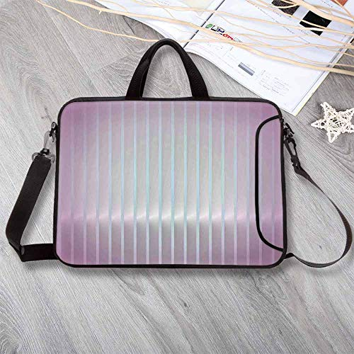 Modern Decor Portable Neoprene Laptop Bag,Vertical Wave Like Lines Display in Vibrant Colors Computer Graphic Paint Laptop Bag for Travel Office School,8.7