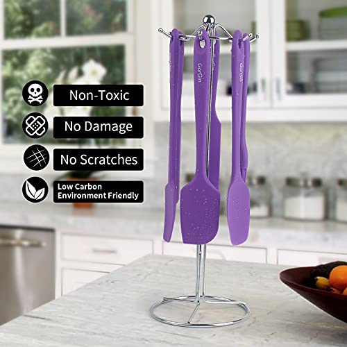 Gorgin Heat resistant silicone spatula set, Non stick rubber scraper, No damage to pots and pans, 5-piece kitchen utensils for cooking, Baking and mixing (Purple)