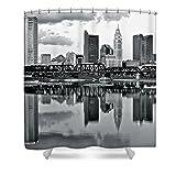 Pixels Shower Curtain (74'' x 71'') ''Charcoal Columbus Mirror Image''