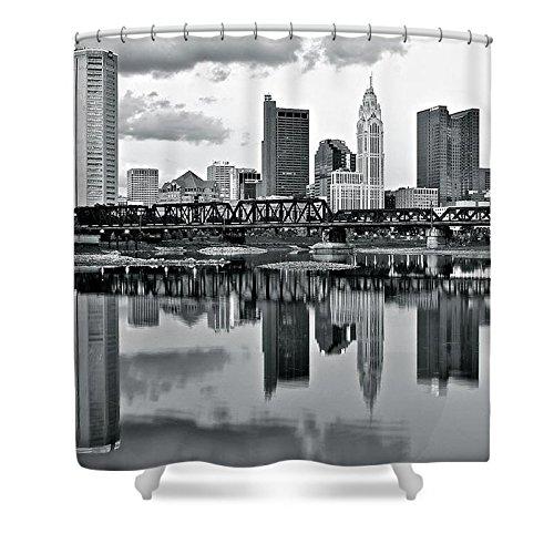 Pixels Shower Curtain (74'' x 71'') ''Charcoal Columbus Mirror Image'' by Pixels