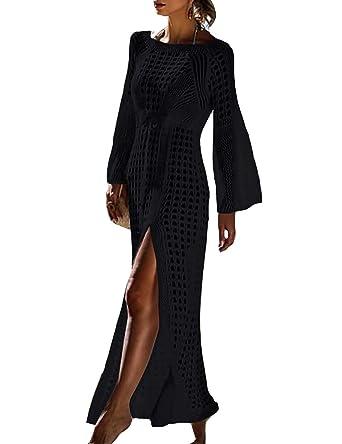 874563c622 Bestyou Women's Side Split Crochet Swimsuit Cover up Tunic Beach Dresses  (Black ...