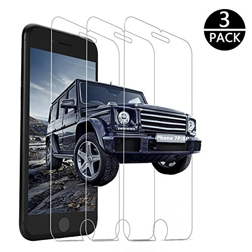Price comparison product image iPhone 8 Plus Screen Protector, iPhone 7 Plus Screen Protector, 3-Pack Yoyamo Version Y612 Tempered Glass Screen Protector Compatible with iPhone 8 Plus / iPhone 7 Plus