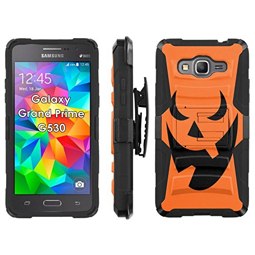 Samsung Galaxy Grand Prime G530 Phone Cover, Pumpkin Face- Blitz Hybrid Armor Phone Case for [Samsung Galaxy Grand Prime G530] with [Kickstand and Holster] by -