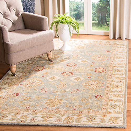 Safavieh Antiquities Collection AT822A Handmade Traditional Oriental Grey Blue and Beige Wool Area Rug (8' x 10') ()