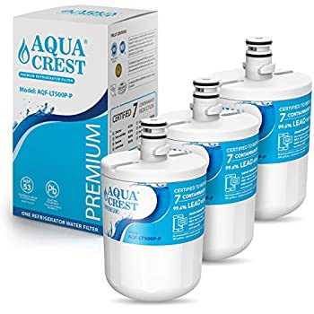 AQUACREST 5231JA2002A Refrigerator Water Filter, NSF 53&42 Certified to Reduce 99% of Lead and More, Compatible with LG LT500P, ADQ72910901, Kenmore 9890, 46-9890 (Pack of 3, packing may vary)