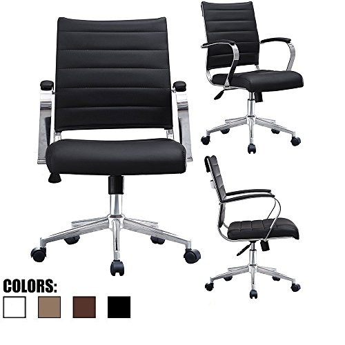 2xhome - Black- Modern Mid Back Ribbed PU Leather Swivel Tilt Adjustable Chair Designer Boss Executive Management Manager Office Chair Conference Room Work Task (Charles Desk Chair)