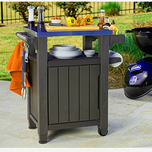 Outdoor BBQ Prep Table Stainless Steel Top Grill Prep Mobile Cooking Station Indoor Outdoor Storage Cabinet Deck Patio Backyard Furniture All Weather-Resistant Wheels Adjustable Legs eBook by BADAshop Freestanding Serving Cart