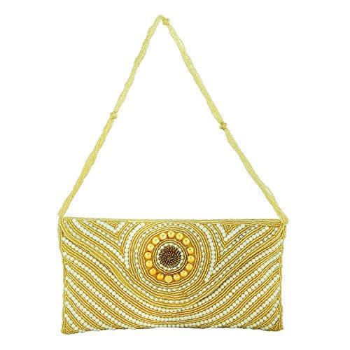 FOR-U Yellow Golden Clutch Waterproof Magnetic closure 1 Zip Short Handle Straps Beads and Stones work Handbag by FOR-U
