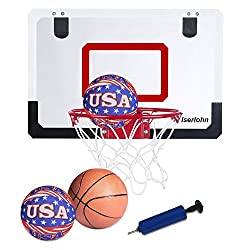 Iserlohn Mini Basketball Hoop, Over the Door Use - Include 2 Quiet Shooting Ball and a Pro-Mini Basketball, Air Pump, Design for Home or Office