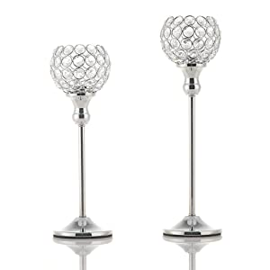 VINCIGANT Valentines Day Silver Crystal Tea Light Candle Holders/Sparklers Wedding Candelabra for Housewarming Dining Room Coffee Table Decorative Centerpiece,Set of 2