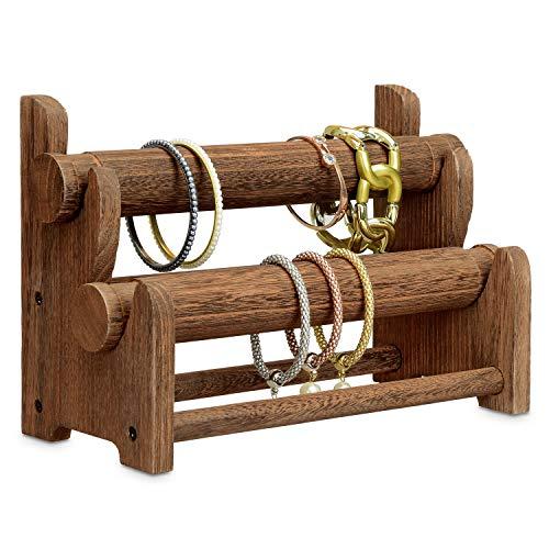Ikee Design Wooden 2-Tier Bar Bracelet/Bangle Jewelry Holder Stand Display Organizer - Brown Bangle Jewelry Display Stand