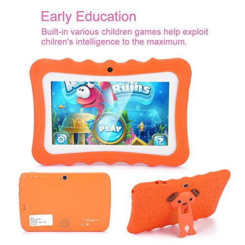 Kid Tablets, 7-inch Display 1024600 Quad-Core Early Education Children Tablet WiFi+ Bluetooth +1+8GB Memory for Android, Touch Screen Tablets for Kids(Orange)(US)