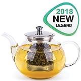#1: Glass Tea Pot Set - Loose Leaf Tea Pot with Infuser and Lid - Large Teapot with Strainer - Tea maker 40 oz